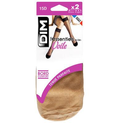 Pack of 2 pairs of Mes Essentiels 15 sheer knee highs in amber, , DIM