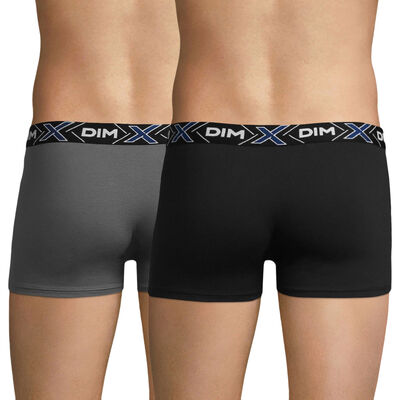 Pack of 2 pairs of X-TEMP trunks in dark grey and black, , DIM