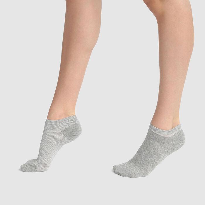 Lot de 2 paires de chaussettes basses Gris Lurex Argent Coton Style, , DIM