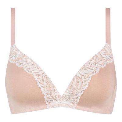 Nude pink modal cotton soft push-up triangle bra, , DIM