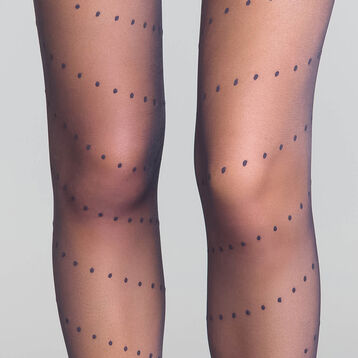 Dotted swiss Navy Blue 20 Tights - Dim Style, , DIM