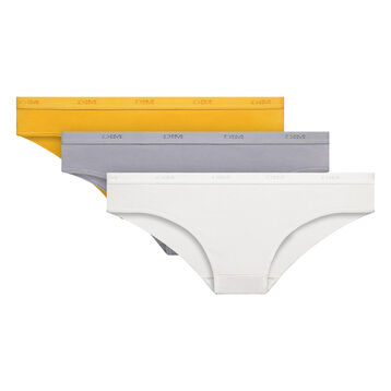 3 pack yellow, grey and white briefs - Ecodim, , DIM