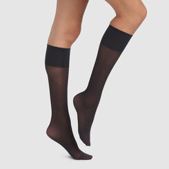 2 pack recycled semi-opaque black knee-socks 25D Green by Dim, , DIM
