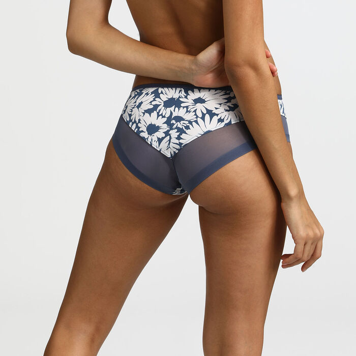 Generous Dim Microfibre and tulle briefs with daisy print tulle, , DIM