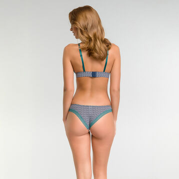 Brazilian tanga with blue patterns - Dim Odyssée, , DIM