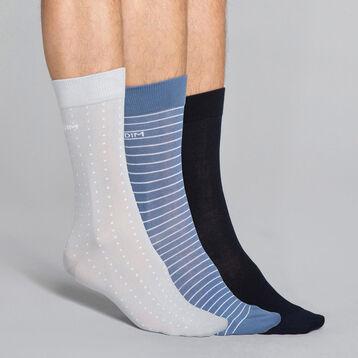 3-pack stripe and dots ink blue/grey Men's socks, , DIM
