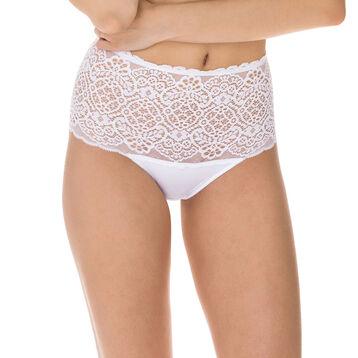 Sublim Dentelle high rise lace bikini knickers in white, , DIM