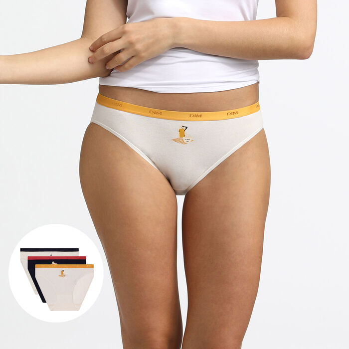 Les Pockets de Dim pack of 3 dolce vita printed stretch cotton knickers, , DIM