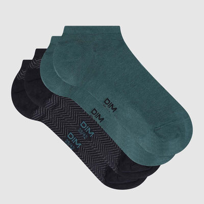 Lot de 2 paires de socquettes homme motifs chevrons Vert Coton Style, , DIM