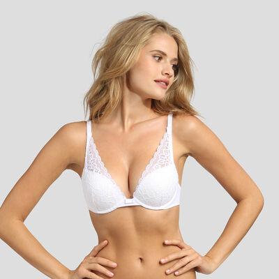 Dim Sublim Lace white push-up triangle bra , , DIM