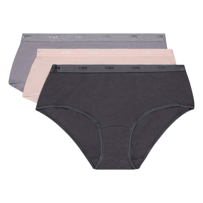 EcoDim Les Pockets pack of 3 stretch cotton shorties taupe/grey/pink, , DIM