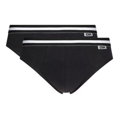 Pack of 2 black EcoDIM stretch cotton briefs, , DIM