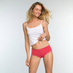 Casual Red microfiber shorty Micro Lace Panty Box, , DIM