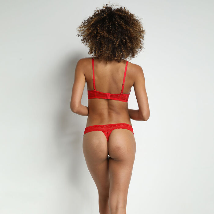 Women's lace thong with floral patterns Red Poppy Daily Glam, , DIM