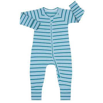 Zipped Pyjama in Cotton Stretch with blue and green stripes Dim Baby, , DIM