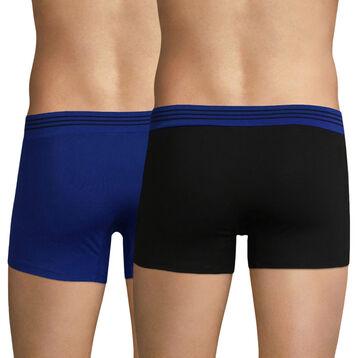 Lot de 2 boxers bleu et noir - Soft Touch Pop, , DIM