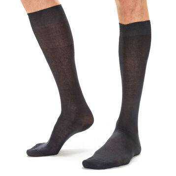 Dark grey lisle knee highs for men, , DIM