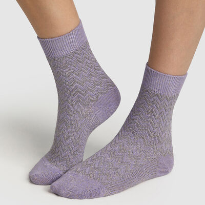 Women's cotton sock with lilac herringbone pattern Lilac Made in France, , DIM