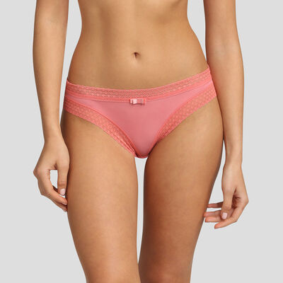 Coral pink microfiber and lace briefs Dim Trendy Micro, , DIM