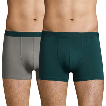 2 Pack stretch cotton trunks Metal Grey and Pacific Green Soft Power, , DIM