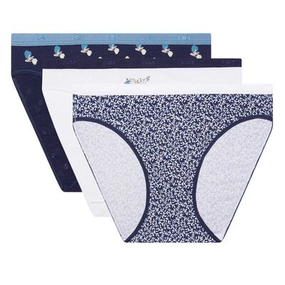 Les Pockets Cotton pack of 3 stretch cotton briefs with Lapland print, , DIM
