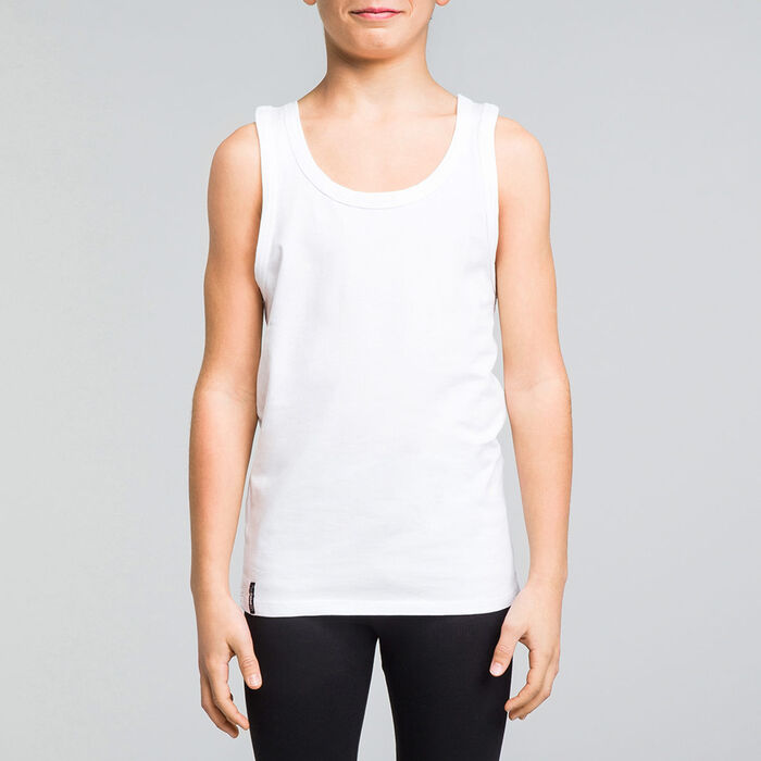 White DIM Boy stretch cotton tank top - DIM