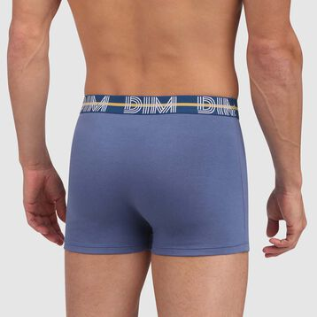 Dim Powerful stretch cotton trunks in hyacinth blue with green waistband, , DIM