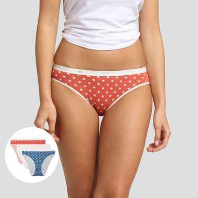 3 pack briefs with polka dots retro print Les Pockets Coton Stretch Dim, , DIM