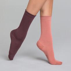Antique pink and dark purple 2 pack women's socks - Modal , , DIM