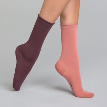 Antique pink and dark purple 2 pack women's socks - Modal , , DIM