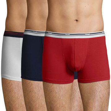 3 Pack cotton trunks Denim Blue, White, Lava Red Daily Colors, , DIM