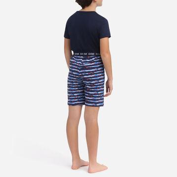 American Flag navy blue 100% cotton short pyjamas Dim Boy, , DIM