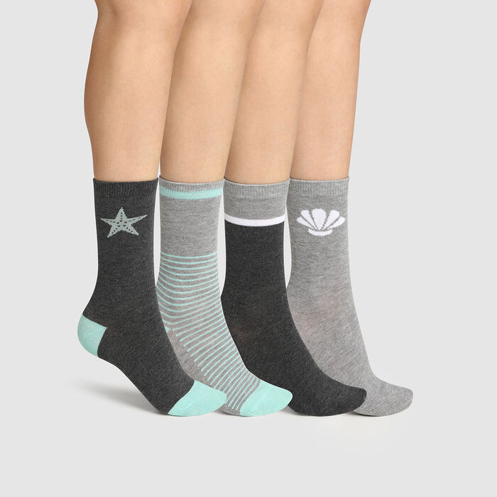 Pack of  4 pairs of women's cotton socks in Mint Grey Dim., , DIM