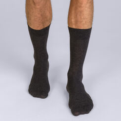 Pack of 2 pairs of charcoal X-Temp socks for men, , DIM