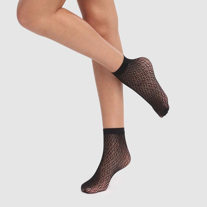 Socquettes crochet berbère noires Style de Dim, , DIM