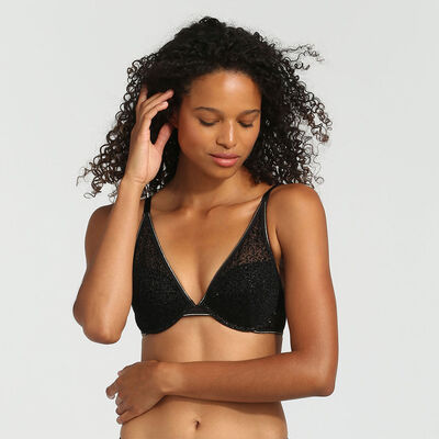 Chic Line precious black tulle and velvet push-up triangle bra, , DIM
