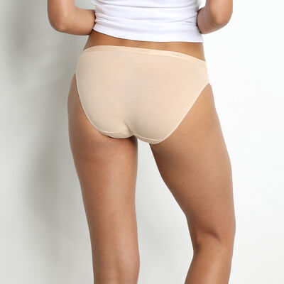 Pack of 3 pairs of Les Pockets Coton knickers in white/nude/black, , DIM