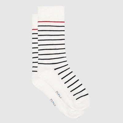 Men's cotton striped print sock Blue White Red Made in France, , DIM