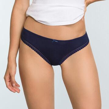 Infinite Blue microfiber thong Micro Lace Panty Box, , DIM