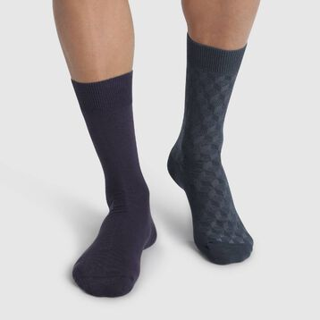 2 pack Astro Blue and Turquin Blue men's calf socks Cotton Style, , DIM