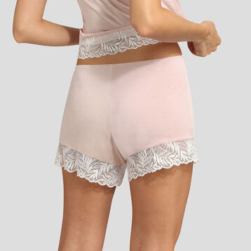 Dim Cosy Lady nude pink lace and modal cotton pyjama shorts , , DIM