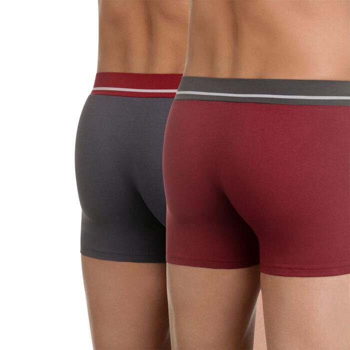 Lot de 2 boxers rouge et gris en coton stretch Soft Touch, , DIM