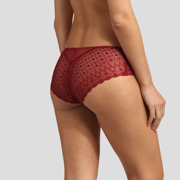 Red graphic lace and dotted-swiss mesh shorty Dim Daily Glam, , DIM