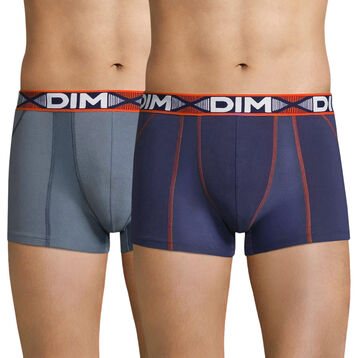 Pack  of 2 grey and blue trunks - 3D Flex Air, , DIM