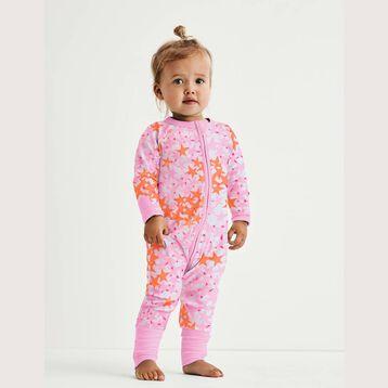 Pink Stars Print Cotton Stretch Zipped Pyjama Dim Baby, , DIM