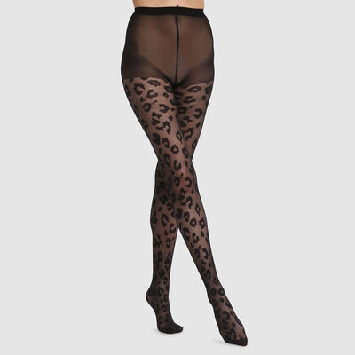 Dim Style 73D fine fishnet tights in black leopard print, , DIM
