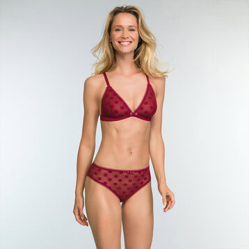 Cherry Red laced triangle bra with polka dots Dotty Line, , DIM