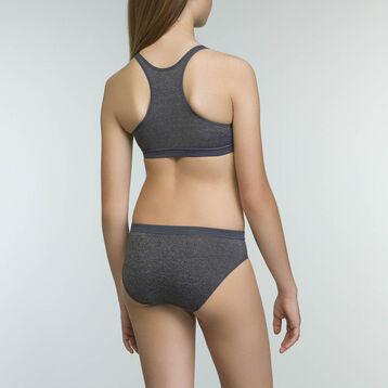 Girls' microfiber sports bra in Dark Heather Grey Dim Micro, , DIM