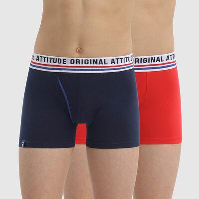 Lot de 2 boxers garçon coton stretch style retro Matelot Dim Originals, , DIM