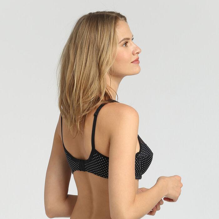 Dim Generous black plumetis print underwired bra, , DIM